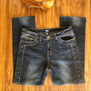 Reba Studded Double Stitch Bootcut Jeans Size 14